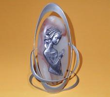Régi gyönyörű achát kő ón alpakka fém kézzel készített dísztárgy dísz tárgy női lány figura szobor