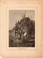 Állj meg, rózsám egy szóra, fametszet 1881, metszet, nyomat, 18 x 25 cm, Ország - Világ, újság