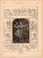 Kortes - világ, fametszet 1881, metszet, nyomat, 23 x 30 cm, Ország - Világ, újság, választás