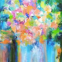 """""""Virágzás"""" 40x40cm Külföldi kiállításon szerepelt mű. Püspök Anita festmény, Közvetlen a művésztől"""