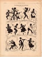 Farsangi árny- és fényképek nyomat 1881, 22 x 30 cm, Ország - Világ, árny, fény, újság, farsang