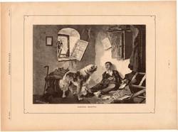Sarokba szorítva, fametszet 1881, metszet, nyomat, 17 x 25 cm, Ország - Világ, újság, kutya, tolvaj