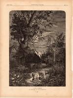 A falu csöndje, fametszet 1881, metszet, nyomat, 22 x 30 cm, Ország - Világ, újság, birka, erdő, ház