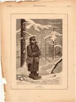 Lesben, fametszet 1881, metszet, nyomat, 18 x 25 cm, Ország - Világ, újság, vadász, tél, vadászat