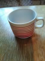 Zsolnay piros csíkos kávés csesze