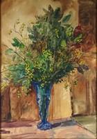 1B843 Marosán Gyula : Vírágcsokor kék vázában ~1950