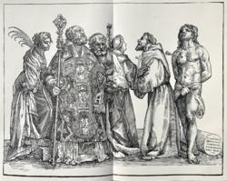 Andrea Andriani: Szent Miklós és az öt szent / Der Hl. Nikolaus mit fünf Heiligen (1889-es nyomat)