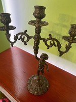 Antik bronz gyertyatartó