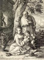 Hendrick Goltzius: The Holy Family with the Infant John the Baptist (1889-ben készített nyomat)