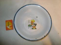 Régi zománcos, jelenetes gyermek tányér Bonyhád jelzéssel