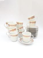 Alföldi retro porcelán kávéscsészék, mokkás, eszpresszós szettek - aranyozott mintával