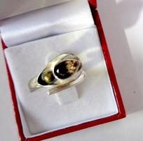 Ezüst FÜSTKVARC kétszínű különleges  gyűrű 7,25, méret kicsit állítható