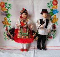 Gyönyörű textil népművészeti baba pár 16 cm