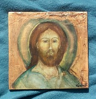 Az arckép megkopott, A glória törött. Jézus mégis örök.15x15 cm-es. Károyfi Zsófia Prima d. művész.