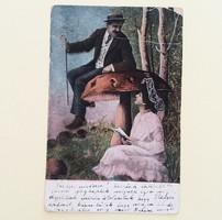 Régi képeslap 1909 szerelmespár