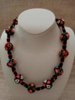 Régi szép színvilágú apró gyöngyökből készített nyaklánc
