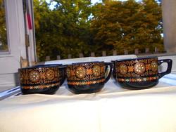 6 db Orosz plasztikus kézzel festet mintával  majolika bögre -szép kézműves termék 700 Ft/db