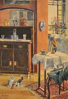 Koszkol Jenő (1868-1935): Gombolyaggal játszó cicák századfordulós enteriőrben