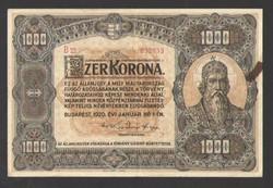 1000 korona 1920.   VF!!  100 ÉVES!!  NAGYON SZÉP!!