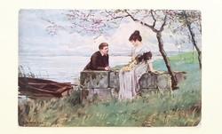 Régi képeslap 1924 E. Schneider szerelmespár