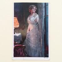 Régi képeslap 1921 szobajelenet