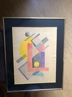 Bortnyik Sándor (1893 - 1976)  Geometrikus kompozíció 1930 Vízfesték (akvarell) papíron