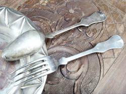 Antik evőeszköz alpakka régi vintage villa kanál 2 db