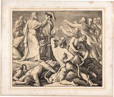 Bibliai kép (25), nyomat 1860, 22 x 25, A Szent Biblia díszes képekben, ige, IV. Mos. 21, 9. Mózes