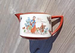 Pillangós, ázsiai jelenetes, pecsétes, kézzel festett porcelán kiöntő