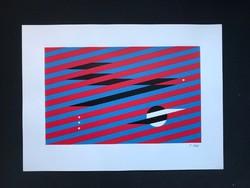 """Yves Laloy (1920-1999) nagyméretű szita """" Kompozíció:piros,kék, fekete"""