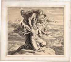 Bibliai kép (29), nyomat 1860, 22 x 26 cm, A Szent Biblia díszes képekben, ige, V. Mos. 34, 4.