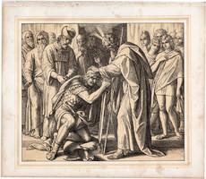 Bibliai kép (27), nyomat 1860, 22 x 25, A Szent Biblia díszes képekben, ige, IV. Mos. 27, 22. 23.