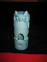 Zsolnay kék  art deco   cső bagoly   szép állapot  ,  67 x  172 mm