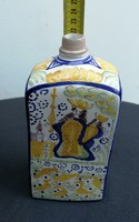 Butella, butélia, népi korsó, Habán jellegű darab. Egyházi téma, körben festett szép darab!pálinkás