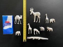 10db Elefántcsont és rozmáragyar állat figurák (cca XIX.századiak)