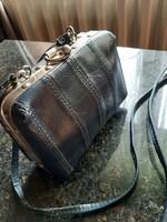 Kis kék retro bőrből készült, bőrönd táska !