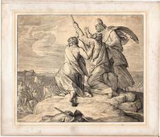 Bibliai kép (6), nyomat 1860, 22 x 26, A Szent Biblia díszes képekben, ige, II. Mos. 17, 11. 12.
