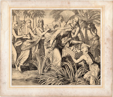 Bibliai kép (1), nyomat 1860, 22 x 25, A Szent Biblia díszes képekben, ige, II. Mos. 2, 5. 6.
