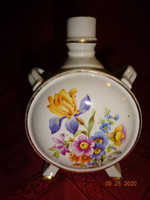Kőbányai magyar  porcelán, virágmintás kulacs.  Magassága 13 cm.