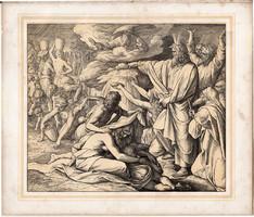 Bibliai kép (19), nyomat 1860, 21 x 25, A Szent Biblia díszes képekben, ige, II. Mos. 16, 4-17., 6.