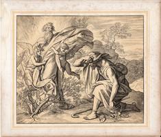 Bibliai kép (5), nyomat 1860, 22 x 25, A Szent Biblia díszes képekben, ige, II. Mos. 3, 9. 11.