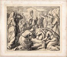 Bibliai kép (18), nyomat 1860, 21 x 25, A Szent Biblia díszes képekben, ige, II. Mos. 34, 29. 32.