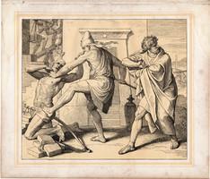 Bibliai kép (2), nyomat 1860, 21 x 25, A Szent Biblia díszes képekben, ige, II. Mos. 2, 11. 12.