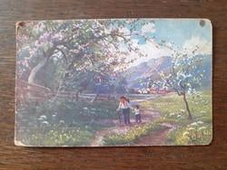 Régi képeslap vidéki tájkép tavasz levelezőlap