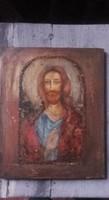 Jézus ikon. 30x25cm-es kép fatáblán. Károlyfi Zsófia Prima díjas alkotó műve.