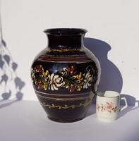 Antik Vásárhelyi Hódmezővásárhelyi HMV nagyméretű kerámia váza népi népművészeti kézműves váza