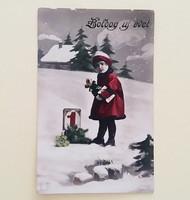 Régi újévi képeslap 1930 vintage üdvözlőlap