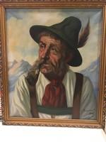 Olaj technikával készült portré, aranyozott keretben.