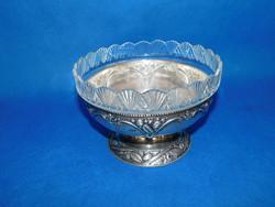 Ezüst  kínáló üvegbetéttel 458 g