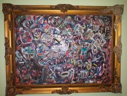 Arcokat ábrázoló absztrakt festmény eladó